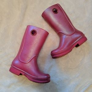 Crocs pink shimmer rain boots